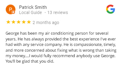 five star review for air control hvac company